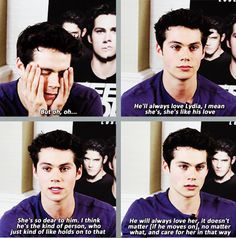 dylan talks about his character stiles liking lydia(: