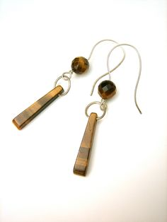 Faceted Tiger's Eye Earrings  with sterling by ClementineandCo, $40.00