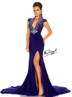 This ravishing pageant gown from the Mac Duggal Pageant collection 2013 is perfect for a pageant or any special occasion that requires sophisticated elegance. This glamorous velvet fitted floor length evening gown features a stunning intricately hand beaded ab rhinestone bodice with a plunging V neckline and capped sleeves. The waist is accentuated with a heavily beaded chunky rhinestone applique that adds even more shape to the classic silhouette. This gown will have people loving you…