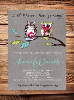 Owls Baby Shower Invitation, Gray Linen Baby shower invitation, whimsical, rustic, vintage, owls, baby shower, bridal shower, floral