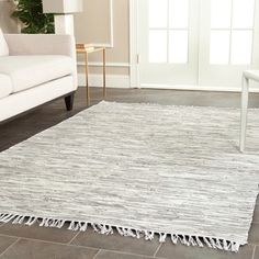 Shop for Safavieh Hand-woven Montauk Silver Cotton Rug (8' x 10'). Get free shipping at Overstock.com - Your Online Home Decor Outlet Store! Get 5% in rewards with Club O!