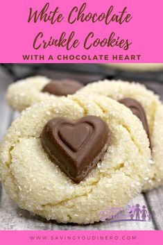 Everyone will love these unique Valentine's Day Cookies - White Chocolate Crinkle Cookies With A Chocolate Heart. It's an easy recipe that could be for kids, spouse, or co-workers. It's a simple, homemade cookie everyone will love. White Chocolate Cake, Chocolate Crinkle Cookies, Chocolate Crinkles, Chocolate Hearts, Toffee Cookies, Chocolate Chocolate, Kids Cooking Recipes, Fun Easy Recipes, Easy Cooking