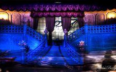 """FR: Zone d'embarquement de Phantom Manor à Disneyland Paris.  EN: Boarding area in Phantom Manor in Disneyland Paris.  Info: HDR Pic from 3XP / Photo HDR àpd 3 expositions  Histoire du cliché: Cette photo a été prise dans la file de Phantom Manor, juste avant l'embarquement dans les doombuggies. Il est très difficile de rester sans bouger. La longue exposition permet d'avoir une luminosité acceptable et transforme le passage des buggies et des cast members en """"fantômes&q..."""