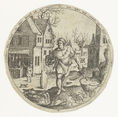 Jacob Savery (I) | Vuur, Jacob Savery (I), Claes Jansz. Visscher (II), 1584 - 1603 | Ronde voorstelling van het element vuur: een man roert in een kookpot die op een vuurtje staat in de buitenlucht. Op de achtergrond enkele huizen. Rondom een randschrift in het Nederlands. Deze prent is onderdeel van een serie van vier prenten van de elementen.