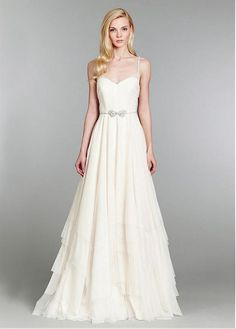 A-Line Spaghetti Straps Tulle Floor Length Wedding Dress With Sweep