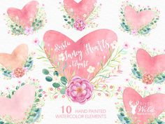 Hand Painted Watercolor Fancy Floral Rustic Heart Clipart Pack This Set Is