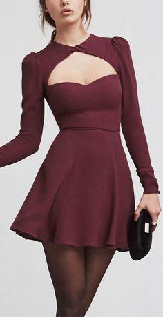 Wine Aubergine Cutout Dress ❤︎
