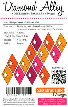 DIAMOND ALLEY Quilt Pattern Sassafras Lane Designs... helpful diagram.