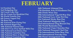Which Weird National Day Falls On Your Birthday? Wacky Holidays, Weird Holidays, Weird National Holidays, List Of National Days, National Days In February, February Baby, February Birthday, December, National Holiday Calendar