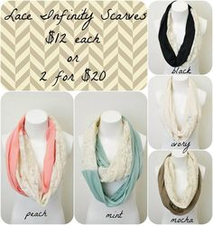 Mix and Match Lace Infinity Scarves.