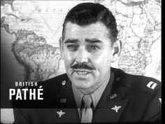 Unedited original and restored propaganda clip of Clark Gable, in his uniform, talking abut the 8th Air Force (1942)