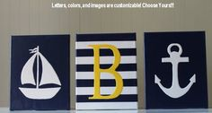 Yellow and navy nautical decor!!! Awesome color combo :)