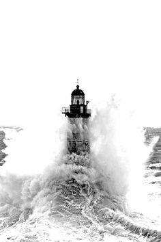 *Ar Men Lighthouse - Off Île de Sein, Brittany, France (by Philip Plisson)