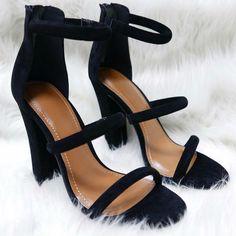 Chunky Strappy Velvet High Heels