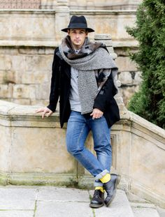 #outfit #man #scarf #hat #denim #casual
