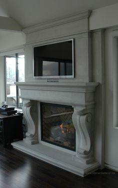 Farmhouse Fireplace Mantels, Marble Fireplace Mantel, Fireplace Mantel Surrounds, Limestone Fireplace, Bedroom Fireplace, Home Fireplace, Marble Fireplaces, Fireplace Remodel, Living Room With Fireplace