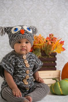 Indulge your little one with this fun to knit owl outfit. The feathers are formed by working an easy slip stitch pattern, and a simple ribbing pattern forms both legs. Don't forget to knit the cozy owl hat to complete the look!