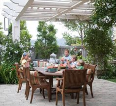 Dining Area - what's the difference between an arbor and a pergola?  This is called an arbor!