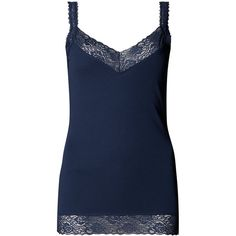 Indigo Collection Pure Cotton Lace Vest Top ($16) ❤ liked on Polyvore featuring tops, blue, lace tank, lace vest, cotton camisole, lace cami tank and v neck tank