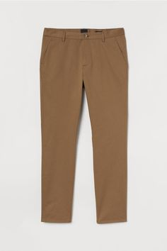 Chinos in washed stretch cotton twill. Zip fly side pockets and welt back pockets. Slim fit - relaxed over thighs and tapered from knees down for a relaxed well-tailored look. H M Man, Slim Fit Chinos, Dark Beige, Neue Trends, Fitness Fashion, What To Wear, Thighs, Khaki Pants, Man Shop