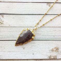 Jasper Arrowhead Necklace With Satellite Chain  by MarleeCWatts