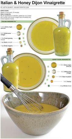 Behind the Bites: Basic Italian and Honey Dijon Vinaigrette Sauce Recipes, Cooking Recipes, Healthy Recipes, Great Recipes, Cooking Tips, Basic Italian, Salad Dressing Recipes, Mustard Salad Dressing, Salad Dressings