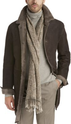Check this out! Hartsville Dark Brown Fit Shearling Coat - Outerwear from Joseph Abboud. #JosephAbboud