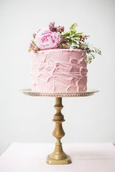Single Layer Pink Wedding Cake on a Tall Pedestal / from onefabday.com