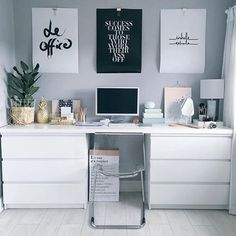 "Workspace inspiration + regram from @olivianicolesilk in the UK  It's the quotes + inspo prints that we love most about lifestyle blogger Olivia's workspace  Our favourite is the @sealoeshop print ""Success comes to those that work their ass off""...ain't that the truth ✨ Hope you're enjoying the long weekend! Thanks Olivia for tagging us at #workspacegoals  PS. Is the desk really a clever Ikea hack?"