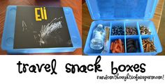 Travel Snack Boxes with chalkboard --- this is a good idea in theory, but I'm a little unsure about it since my kids are both clumsy... maybe for when they're a little bigger.... and more coordinated ;)
