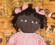 Primitive Folk Art Black Doll by auntpollysdolls on Etsy, £28.00