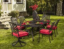 Berkshire Dining Set from Hanamint - Patio Furniture Cast Aluminum Patio Furniture, Outdoor Dining Furniture, Patio Furniture Sets, Outdoor Rooms, Outdoor Living, Outdoor Decor, Dining Chair, Furniture Ideas, Porches