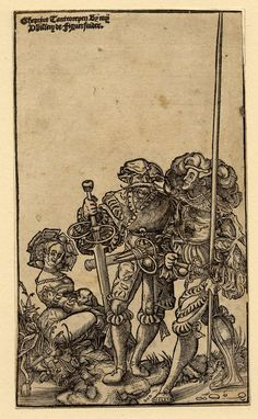 Two mercenaries and a woman; after Urs Graf (Hollstein the female figure seated on the ground at left, turned to right; the soldier at centre holding a large down-turned sword, the one at far right a long lance. Woodcut and letterpress Medieval Drawings, Medieval Art, Renaissance Art, Medieval Clothing, Landsknecht, Albrecht Durer, Art For Art Sake, British Museum, Middle Ages