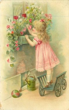 girl in pink dress stands on cart to reach flowers in window box