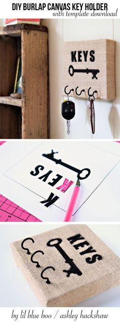 Make a DIY Burlap Stretched Canvas Key Holder #MichaelsMakers #DIY #Burlap