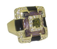 ENAMEL & CZ DESIGNER RING Your Size & Color Choice 5 - 10 SPECIAL UNIQUE…