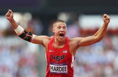Silver medalist Trey Hardee celebrates during the men's decathlon javelin throw.