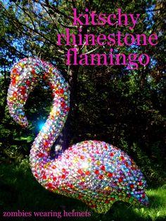 One plastic flamingo: $2  Four packs of adhesive gems: $8.. Neighbors jealous looks: PRICELESS!! garden-yard