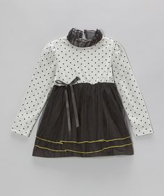Love this Gray & Black Polka Dot Tulle Dress - Toddler & Girls by Paulinie on #zulily! #zulilyfinds