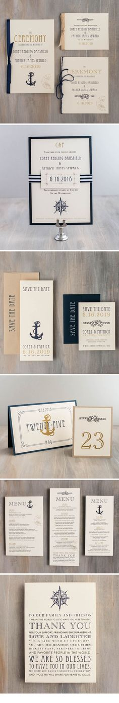 From wedding invitations to ceremony programs, set the tone for your nautical themed wedding day with rustic romantic stationery by Beacon Lane. Explore our entire collection of save the dates, invites, and day of paper goods at www.beaconln.com