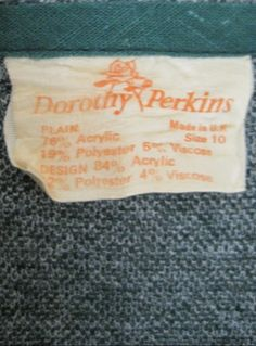 Vintage Dorothy Perkins label from a 1970s dress at virtual vintage clothing http://www.virtualvintageclothing.co.uk/