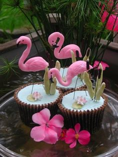 cupcakes, I love the pink flamingos! Flamingo Cupcakes, Pink Flamingo Party, Pink Flamingos, Flamingo Pool, Pretty Cupcakes, Beautiful Cupcakes, Yummy Cupcakes, Cupcake Art, Cupcake Cookies