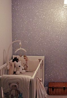 glitter+glue=glitter wall {or buy the wall covering by clicking through}