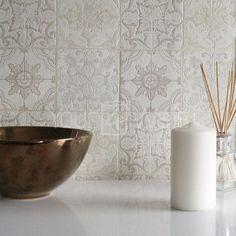 'Marokkanische Kachel' Geometrisch Fliesen-effekt Tapete grau, Beige, creme weiß in Bastel- & Künstlerbedarf, Kreatives Gestalten, Floristik-Zubehör   eBay!