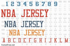 NBA Jersey font is a fancy, old-school font designed by Eriq P. NBA Jersey font is free for both personel and commercial usages. Nba Knicks, Old School Fonts, Jersey Font, Nba Bulls, Nba Warriors, Ttf Fonts, Font Packs, Character Map, Letters