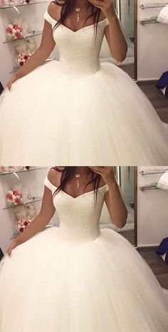 Off the shoulder ball gown wedding dresses,bridal gown, 2017 ball gown wedding dresses, dresses for bridal, elegant prom dresses - Elegant Prom Dresses, White Wedding Dresses, Bridal Dresses, Beautiful Dresses, Wedding White, Perfect Wedding, Elegant Gown, Formal Dress, White Quinceanera Dresses