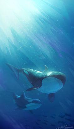 Ocean deep water world of whale Wallpaper Animes, Whale Art, Ocean Creatures, Scenery Wallpaper, Killer Whales, Fantasy Landscape, Anime Scenery, Ocean Life, Marine Life