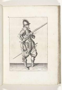 Jacob de Gheyn (II) | Soldaat op wacht die zijn roer bij zijn rechterzijde schuin omhoog gericht vasthoudt, zijn vinger aan de trekker (nr. 36), ca. 1600, Jacob de Gheyn (II), 1597 - 1607 | Een soldaat op wacht, ten voeten uit, naar rechts, die een roer (een bepaald type vuurwapen) met beide handen bij zijn rechterzijde vasthoudt, zijn rechterwijsvinger aan de trekker, de loop schuin omhoog gericht (nr. 36), ca. 1600. In zijn linkerhand behalve de loop van het roer ook een brandende lont…