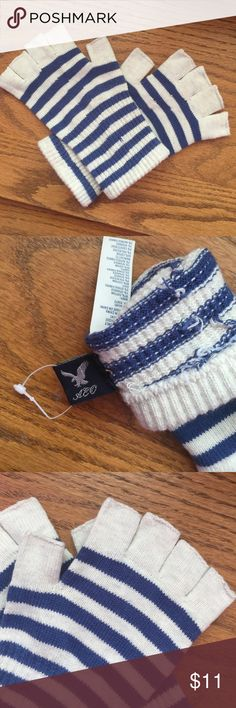 American Eagle gloves Blue &a white striped gloves, fingerless, never been worn American Eagle Outfitters Accessories Scarves & Wraps