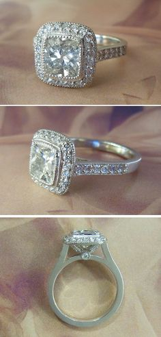 Platinum 2 Carat VS2 Cushion Cut Diamond Halo Engagement Ring.... This is a ten in my book.